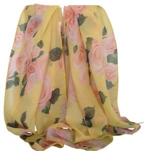 NEW - Delicate Women's scarf/wrap , with yellow Background