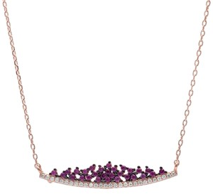 9.2.5 Very unique ruby and white sapphire rose gold silver bib necklace