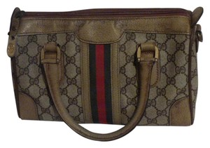 Gucci Doctor's Speedy/Boston Classic Large G Logo Print Satchel in shades of brown with wide red/green stripe