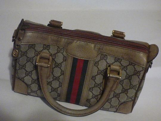 Gucci Doctor's Speedy/Boston Classic Large G Logo Print Satchel in shades of brown with wide red/green stripe Image 1