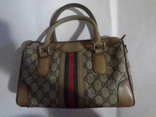 Gucci Doctor's Speedy/Boston Classic Large G Logo Print Satchel in shades of brown with wide red/green stripe Image 3