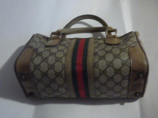 Gucci Doctor's Speedy/Boston Classic Large G Logo Print Satchel in shades of brown with wide red/green stripe Image 4
