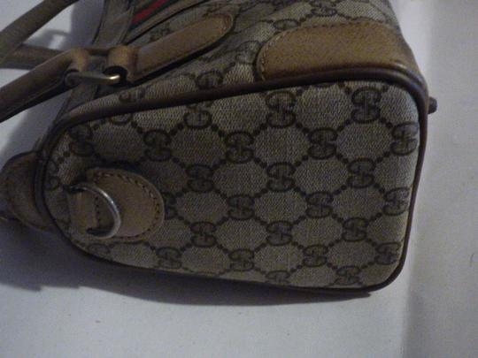 Gucci Doctor's Speedy/Boston Classic Large G Logo Print Satchel in shades of brown with wide red/green stripe Image 5