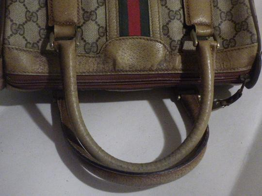Gucci Doctor's Speedy/Boston Classic Large G Logo Print Satchel in shades of brown with wide red/green stripe Image 6