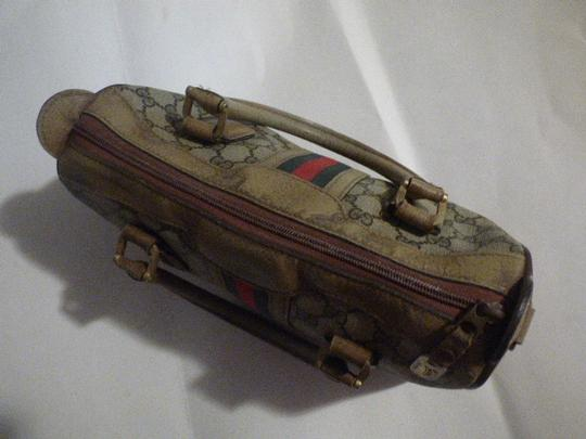Gucci Doctor's Speedy/Boston Classic Large G Logo Print Satchel in shades of brown with wide red/green stripe Image 8