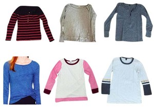 J.Crew Longsleeve Cotton Comfortable Casual Lot T Shirt Multi