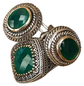NF sterling silver, 14k gold, green onyx ring & earring