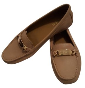 Coach Loafer Gold Chain Tan Flats