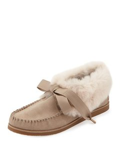 Tory Burch Lace Up Rabbit Fur Suede Slippers LIGHT CAMEL/NATURAL Boots