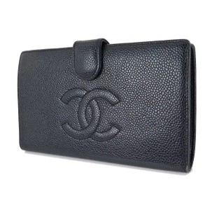 Chanel Black Caviar Leather Coin Card Checkbook Wallet Cc Logo