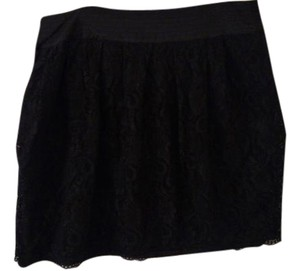 Worthington Lace Satin Waistband Skirt Black
