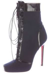 Christian Louboutin Square Toe Ankle Embellished Blue Boots