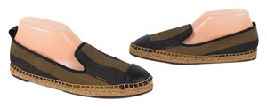 Fendi Espadrille Flat Striped Tobacco Brown Flats