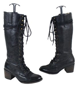 FreeBird Lace Up Leather Black Boots
