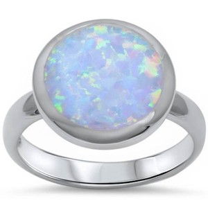 9.2.5 Beautiful large round opal silver ring size 9