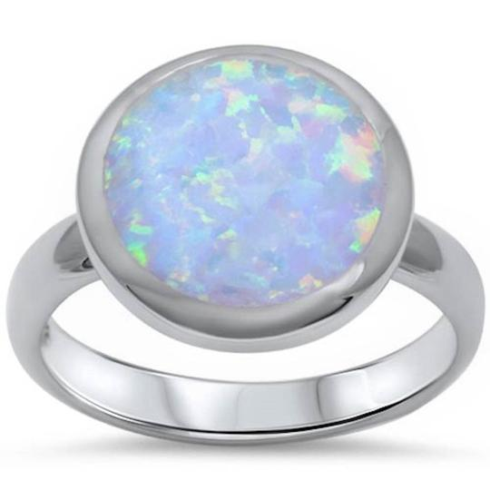 9.2.5 Beautiful large round opal silver ring size 9 Image 0