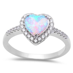 9.2.5 Beautiful opal and white sapphire heart ring size 6