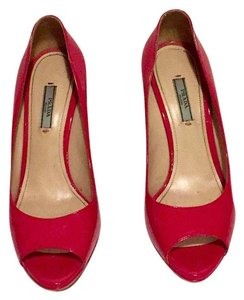 Prada Designer Patent Leather Open Toe Stiletto Pink Pumps