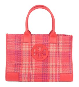 Tory Burch Magnetic Closure Multicolor Plaid Large Tote in Poppy Coral