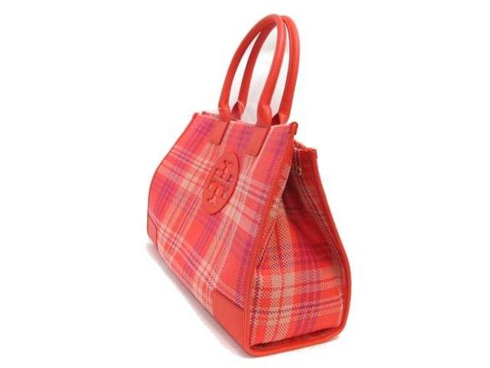 Tory Burch Magnetic Closure Multicolor Plaid Large Tote in Coral