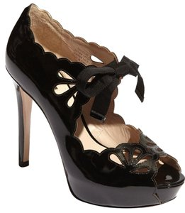 Joan & David Patent Platform Black Pumps