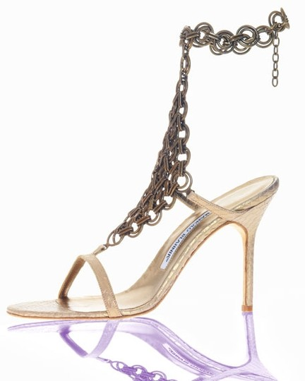 Manolo Blahnik Made In Italy Foot Jewelry Expensive Metallic Sandals