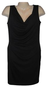 DKNY short dress Black Little Draped Sleeveless Knee Length on Tradesy