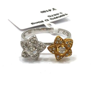 Other 18K White / Yellow Gold Diamons Flowers Ring