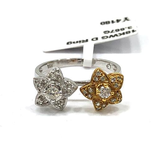 Other 18K White / Yellow Gold Diamons Flowers Ring Image 1