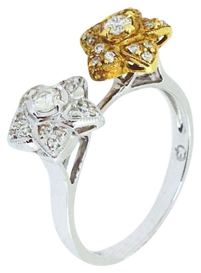 Other 18K White / Yellow Gold Diamons Flowers Ring Image 2