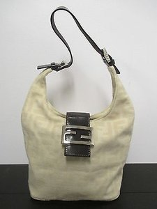 Fendi Cream Logo In Shoulder Bag