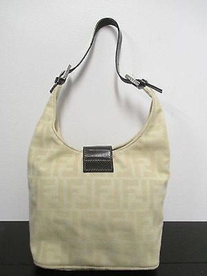 Fendi Cream Logo In Signature Print With Leather Strap Shoulder Bag