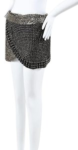 Isabel Marant Black Brass Cabochon Embellished Wrap Skirt Silver