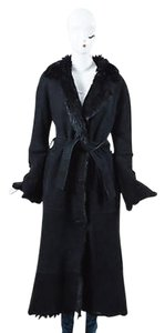 Other Shearling Suede Fur Long Sleeve Tie Belted Full Length Coat