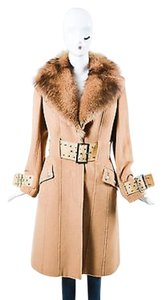 Versace Camel Hair Fur Shw Leather Belted Coat