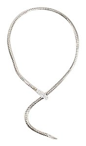 Vintage Silver Tone Rhinestone Crystal Snake Chain Necklace