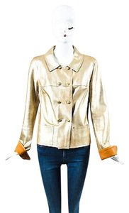 Chanel 05p Metallic Lambskin Leather Cc Double Breasted Gold Jacket