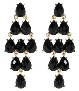 Amrita Singh Amrita Singh Black Resin Gold Tone Dangling Chandelier Earrings