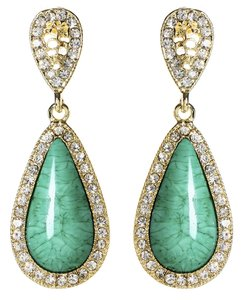 Amrita Singh Amrita Singh Turquoise Resin Gold Classic Teardrop Crystal Earrings Erc 844
