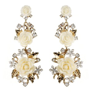 Amrita Singh Amrita Singh Ivory Resin Gold Lyon Floral Rose Crystal Earrings