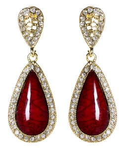 Amrita Singh Amrita Singh Ruby Resin Gold Classic Teardrop Crystal Earrings Erc 844