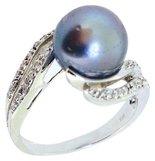 Other 18K White Gold Black Pearl Diamonds Ring size7.25 Image 0