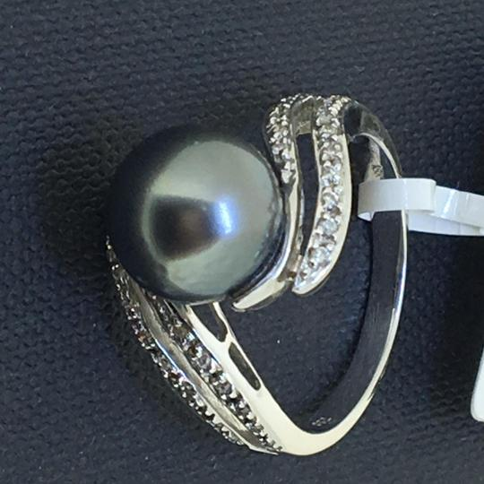 Other 18K White Gold Black Pearl Diamonds Ring size7.25