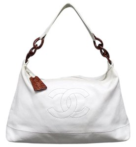 Chanel Large Caviar Leather Tote in White