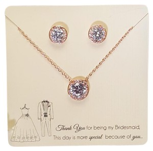 Other Luxury Rose Gold Cubic Zirconia Necklace Set