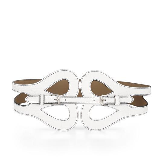 Preload https://img-static.tradesy.com/item/20101737/bcbgmaxazria-white-butterfly-buckle-cutout-croc-vegan-leather-size-small-waist-belt-0-2-540-540.jpg