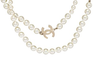 Chanel Chanel Gold CC Rhinestone and Pearl Long Necklace