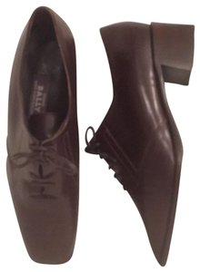 Bally Leather Lace Ups Bootie Classic Vasano Brown Flats