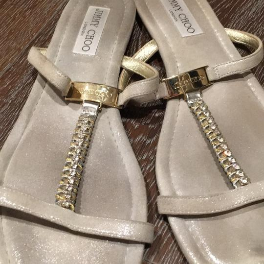 Jimmy Choo Vintage Jc Logo Very Comfortable Eye Catching Studded Stone Straps Fashionable Silver Sandals