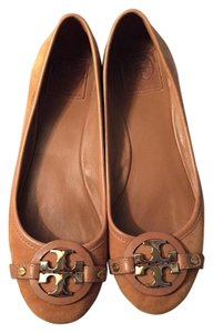 Tory Burch Suede Gold Camel Flats